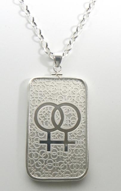 1 Oz Pride Collection Lesbian Symbol Bar Pendant Jewelry