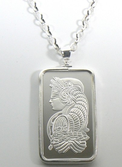 Pendant Jewelry 1 Oz Silver Pamp Bars With Bezel Amp Chain